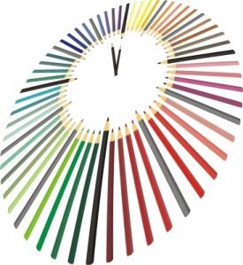 Image of coloured pencils arranged like a clock